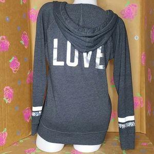 Victoria's Secret Gray V-neck Hoodie Pullover XS
